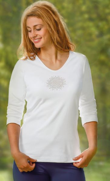 Women Shirt ¾ Arm - flower of life - 2551